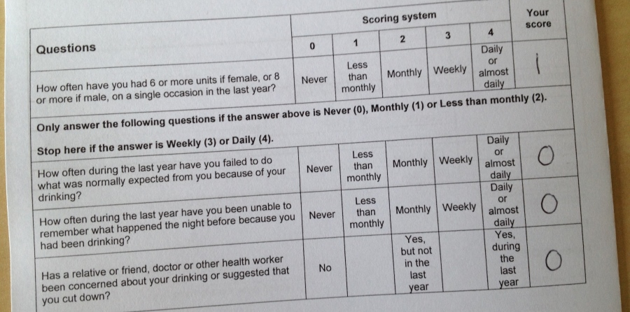 NHS Fast Alcohol Screening Test